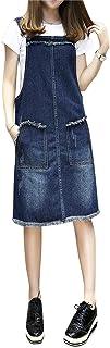 ZiXing Women Denim Jean Dress Straps Suspender Loose Adjustable Midi Overall Dress Plus Size