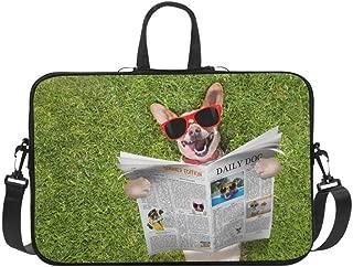 Dog Reading Newspaper Or Magazine Pattern Briefcase Laptop Bag Messenger Shoulder Work Bag Crossbody Handbag for Business Travelling
