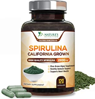 Spirulina Capsules 1500mg - Premuim Spirulina from Blue Green Micro-Algae Powder with Natural Antioxidants, Protein, Fatty...