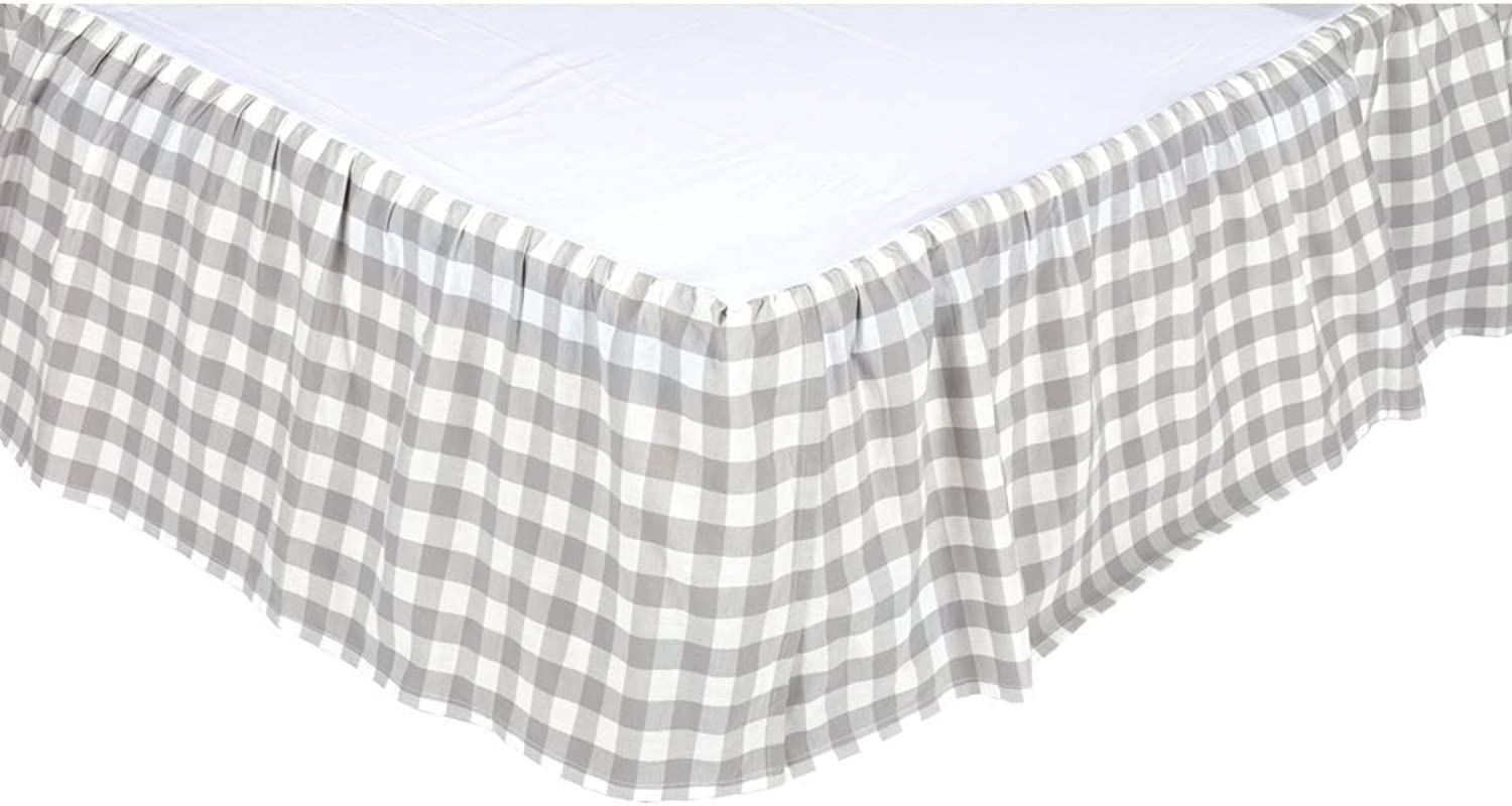 VHC Brands Farmhouse Annie Buffalo Check White Bed Skirt, King, Grey