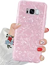 J.west Galaxy S8 Case, S8 Case Luxury Sparkle Glitter Pearly-Lustre Pattern Slim Flexible Clear Shockproof TPU Soft Rubber Silicone Cover Protective Phone Case for Samsung Galaxy S8 (Pink)