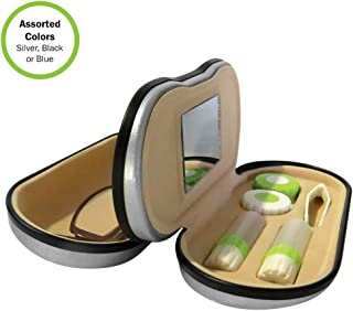Evelots Dual Sided 2 in 1 Glasses-Contact Lens Case-Mirror-Travel Kit- 3 Colors