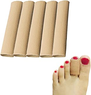 Cuttable Toe Tubes Sleeves, 5 Pack, Made of Elastic Fabric Lined with Silicone Gel. Toe Sleeve Protectors Relief Toe Pressure Pain, Corn and Calluses Remover (for Medium Toe, 10cm Length)