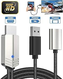 Teléfono a HDMI Cable, DIWUER Versión Mejorada 1080P Adaptador AV Digital Cable, Adaptador MHL a HDMI para iPhone Android ...