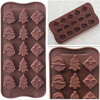 UG LAND INDIA 15 Cavity Silicone Chocolate Mould Christmas Tree Santa Claus Head Handmade Cake Decoration Mould