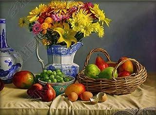 WFYY Pintura por Números Bricolaje, Bodegón Frutas Flores DIY Pintura Al Óleo Vistoso, Impresión De La Lona Mural Decoración Hogareña 40X50Cm Marco Incluido