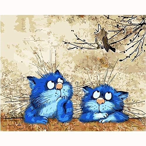 Lovely Blue Cat Picture Painting Cartoon Diy Painting By Numbers Modern Kids Wall Art Acrylic Picture Hand Painted Children Gift 40X50Cmx1With Frame