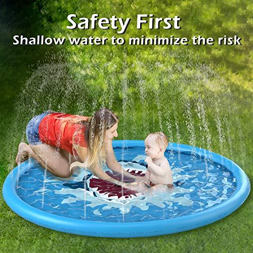 Jasonwell Splash Pad Sprinkler for Kids 68' Splash Play Mat Outdoor Water Toys Inflatable Splash Pad Baby Toddler Pool Boys Girls Children Outside Backyard Dog Sprinkler Pool for Age 3 4 5 6 7 8 9 10