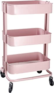 3 Tier Utility Cart, with Wheels Metal Rolling Shelves Storage Organizer Trolley Cart for Home Kitchen Bathroom Bedroom Heavy Duty Mobile Pink