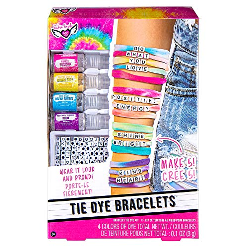 Fashion Angels DIY Tie Dye Bracelet Kit- (12711) Bracelet Making Set, Includes Non Toxic Dyes, Alphabet Beads, Makes 5 Wrap Bracelets, Recommended for Ages 8 and Up, Multi