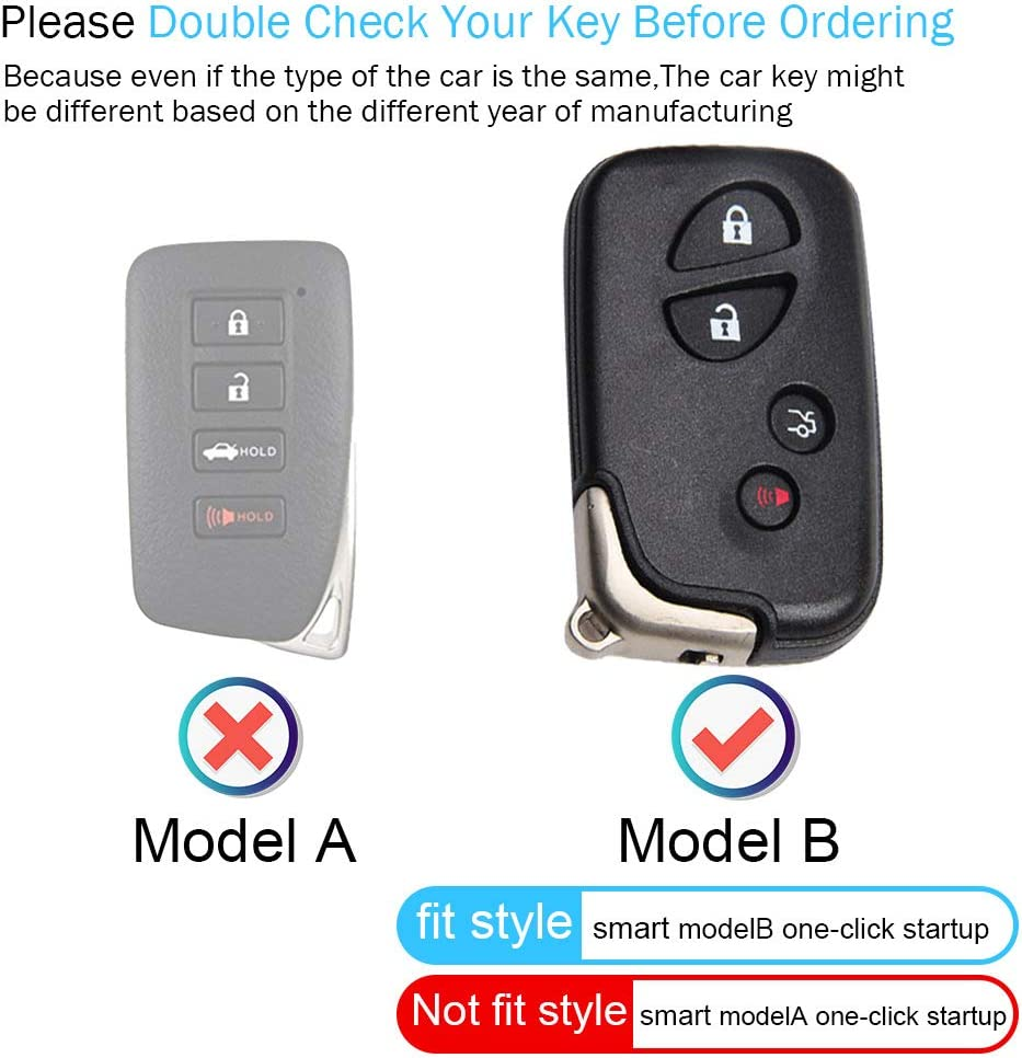 HHHH 4 Buttons Car Key Case Suit for Lexus ES GS is LX NX RX RC RC-F Smart Keyless Fob Remote Key Key Cover Genuine Leather Protector Key Holder