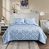 SE SOFTEXLY Quilts for Queen Bed, 3 Layers Jacquard Style Quilt Set Queen Size, Blue 100% Polyester Lightweight Bedspread Coverlet Design, for All Season 1 Quilt and 2 Pillow Shams(86x90 inches)