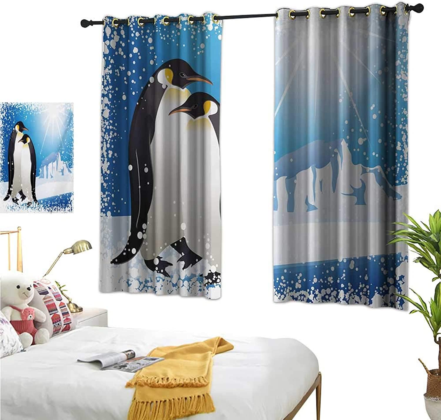 Luckyee Decorative Curtains for Living Room,Winter,63  x 45 ,Cute Penguins on Iceland at Arctic Snowy Frozen Climate Kids Illustration,Suitable for Bedroom Living Room Study, etc.