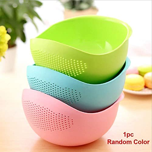 Krishna Home Kitchen Multi Function with Integrated Colander Mixing Bowl Washing Rice Vegetable and Fruits Drainer Bowl Size 21x17x8 5cm