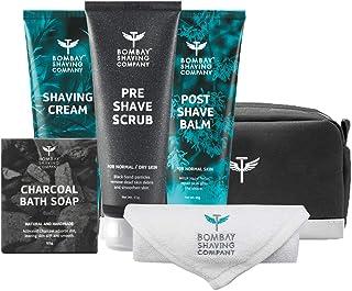 Bombay Shaving Company Premium Shaving Kit with Pre Shave Scrub, Shaving Cream, Post Shave Balm, Charcoal Soap with Towel...