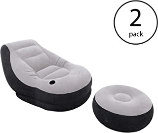 Intex Inflatable Ultra Lounge Chair with Cup Holder and Ottoman Set (2 Pack)