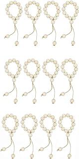 AceAcr Wood Bead Garland Napkin Rings Farmhouse Beads Rustic Decor 4/8 PCS Set (Style-2-12PCS)