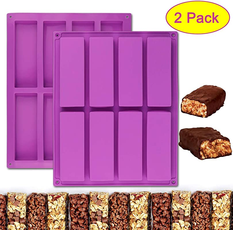 Palksky 2 Pcs 8 Cavity Large Rectangle Silicone Mold Nutrition Cereal Bar Molds Energy Bar Maker For Chocolate Truffles Ganache Bread Loaf Muffin Brownie Cornbread Cheesecake Pudding