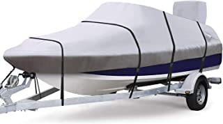 """RVMasking Waterproof & Ripstop 900D Trailerable Full Size Boat Cover Gray for 17""""-19"""" V-Hull Runabouts Outboards and I/O B..."""