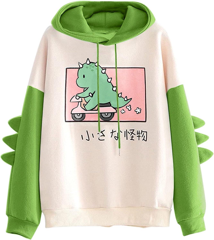 TAYBAGH Cute Hoodie for Women,Womens Teen Girl Colorblock Anime Printed Long Sleeve Hoodie Sweatshirt Casual Blouse Tops