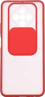 جراب خلفي سيليكون رفيع بغطاء منزلق للكاميرا لموبايل انفينيكس زيرو 8 - شفاف واحمر