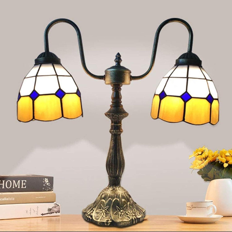 GJH-TISCHLAMPE Farbiges Glas-doppelter Haupteuropischer Mittelmeerhauptdesktop, der dekorative Tischlampe beleuchtet (Farbe   Gelb, Gre   38x43cm)