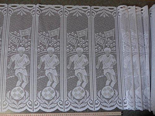 Scheibengardinenstoff mit Fußballspieler in weiß 60cm hoch