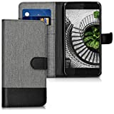 kwmobile Wallet Case Compatible with HTC U11 - Fabric Faux Leather Cover with Card Slots, Stand - Grey/Black