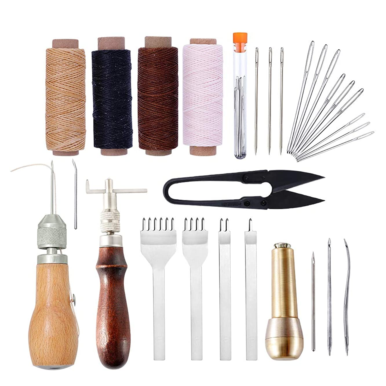 25Pieces Leather Working Tools, Speedy Stitcher with Waxed Thread,Scissors,Stitching Needle for Hand Sewing Stitching, Stamping Set and Saddle Making,Leather DIY