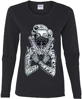 Tattooed Marilyn Guns Women's Long Sleeve Tee Bandana Thug Life Badass Gangsta