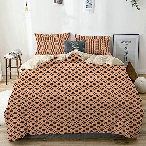 Juego de funda nórdica Beige, multicolor, estampado de azulejos diagonales cuadrados, decorativo Juego de ropa de cama de 3 piezas con 2 fundas de almohada Fácil cuidado Antialérgico Suave Suave