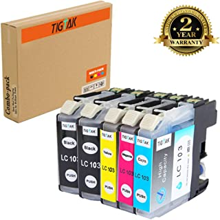 TigTak 5 Pack Replacement for Brother LC103 Compitable Ink Cartridge for Brother Printer MFC-J870DW,MFC-J450DW,MFC-J470DW,MFC-475DW,MFC-J245