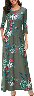 Zattcas Women's Floral Maxi Dress Short and 3/4 Sleeve Casual Long Printed Maxi Dresses with Pockets