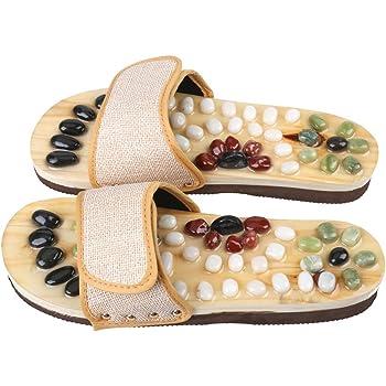 Romonacr Massage Slippers Foot Massager Shoes Shiatsu Relax Sandals with Natural Cobblestone Stones L(Women 8/Men 7)