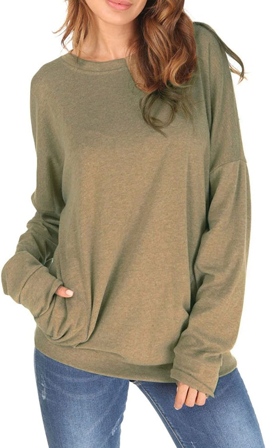 Dasbayla Women Casual Long Sleeve Blouse Top Oversize Sweatershirt with Pockets