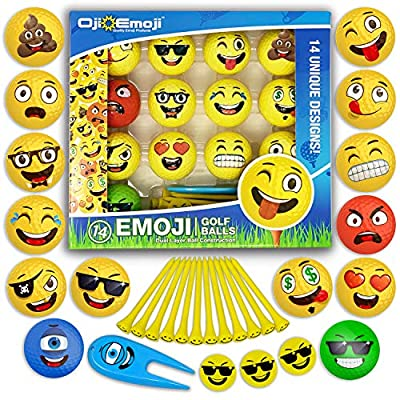 14 Oji-Emoji Golf Balls and gifts Premium Deluxe 30-Piece, Professional Practice Golf Balls, Emoji Golfer Novelty Golf Gift for All Golfers, Fun Golf Gifts for Men, Dads, Women, Kids, golf accessories