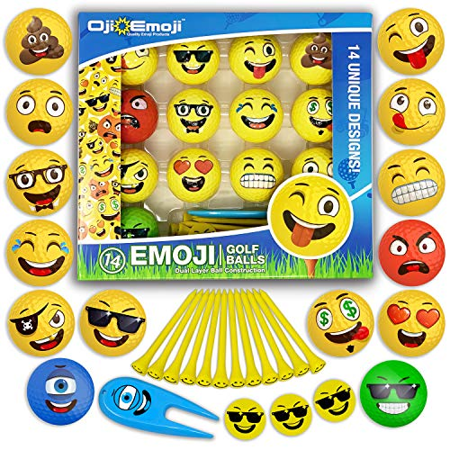 14 Oji-Emoji Golf Balls and gifts Premium Deluxe 30-Piece, Professional Practice Golf Balls, Emoji Golfer Novelty Golf Gift for All Golfers, Fun Golf Gifts for Men, Dads, Women, Kids, golf accessories