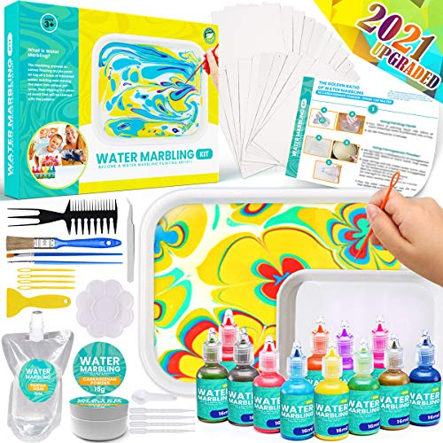 Catcrafter Marbling Painting Art Kit for Kids - STEM Toys Water Color Fabric Dye Brushes Paint Set Craft Supplies Fun Gifts Ideas Arts and Crafts for Girls Boys Tween Ages 3 4 5 6 7 8 9 + (Large)