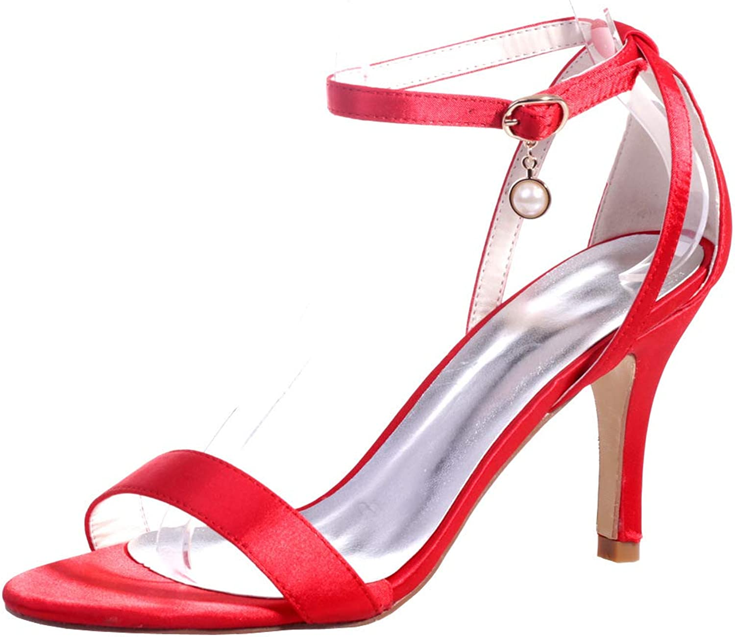 Ladies Sandals,Stiletto Sandals Female Summer New Small Fresh Satin High Heel High Heel Sexy Open Toe with Sandals Female,e,40