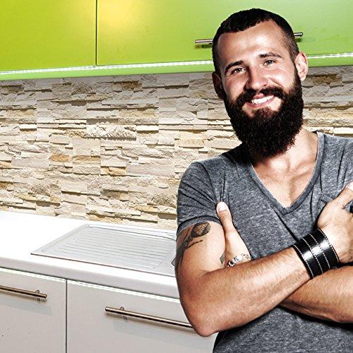 StickerProfis Küchenrückwand selbstklebend Pro STEINWAND Ashlar 60 x 280cm DIY - Do It Yourself PVC Spritzschutz