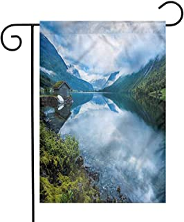 funkky Nature Garden Flag Wooden Cabins Norway Premium Material 12