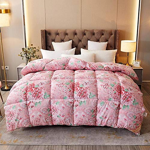 Hahaemall Super king Duvet Goose Feather & Down Quilt Deluxe Duvet - Super Soft Comforter - Warm and Cosy - Anti Allergy-pink_150x200cm-4kg
