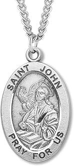 Heartland Engravable Mens Sterling Silver Saint John Chrysostom Oval Medal Customize Choose Chain