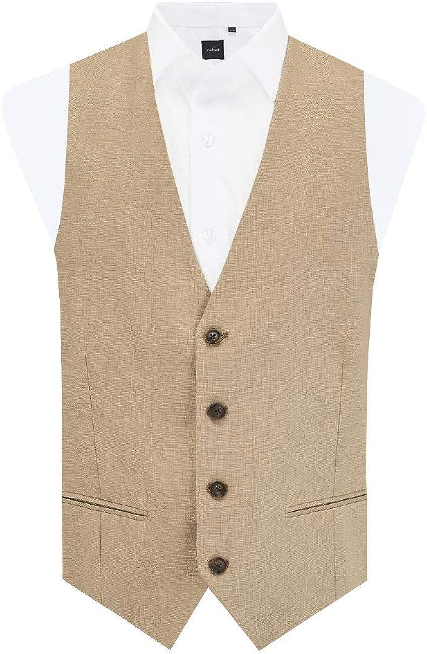 Dobell Mens Sand Vest Regular Fit 100% Linen 4 Button Lightweight Suit Waistcoat