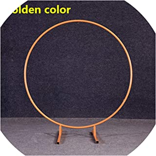 Metal Wedding Arch Round Frame Iron Circle Background Backdrop Support Balloons Stand Gate Outdoor Decoration,Diameter 1.2 Meter,Golden