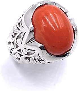 خاتم مرجان احمر ايطالي طبيعي
