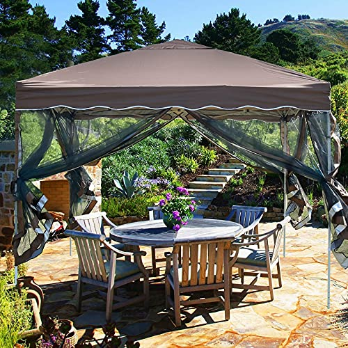 10x10 Pop Up Canopy with Mosquito Netting Ez Pop Up Gazebo Bug Protection Outdoor Gazebo Zippered Mesh Sidewalls for Patios, Gazebos on Clearance for Parties Backyard Wedding BBQ (Brown)
