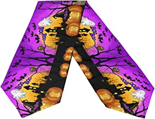 Naanle Double Sided Halloween Long Polyester Table Runner 13 x 70 Inches, Ghost Pumpkin Table Cloth Cover Placemats for Kitchen Dinning Living Holiday Wedding Party Decor