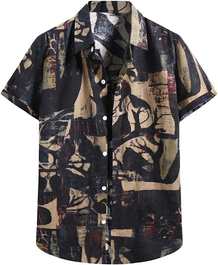 UXZDX Men Tree Print Hawaiian gift Manufacturer OFFicial shop Blouse Sleev Shirt Short Beach