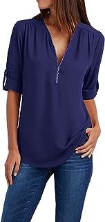 EFOFEI Womens Zipper Up Deep V Neck Long Cuffed Sleeve Tops Casual Shirt Chiffon Blouse